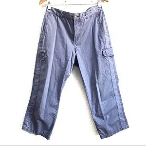 Columbia Blue Cropped Cargo Pants 100% Cotton 10
